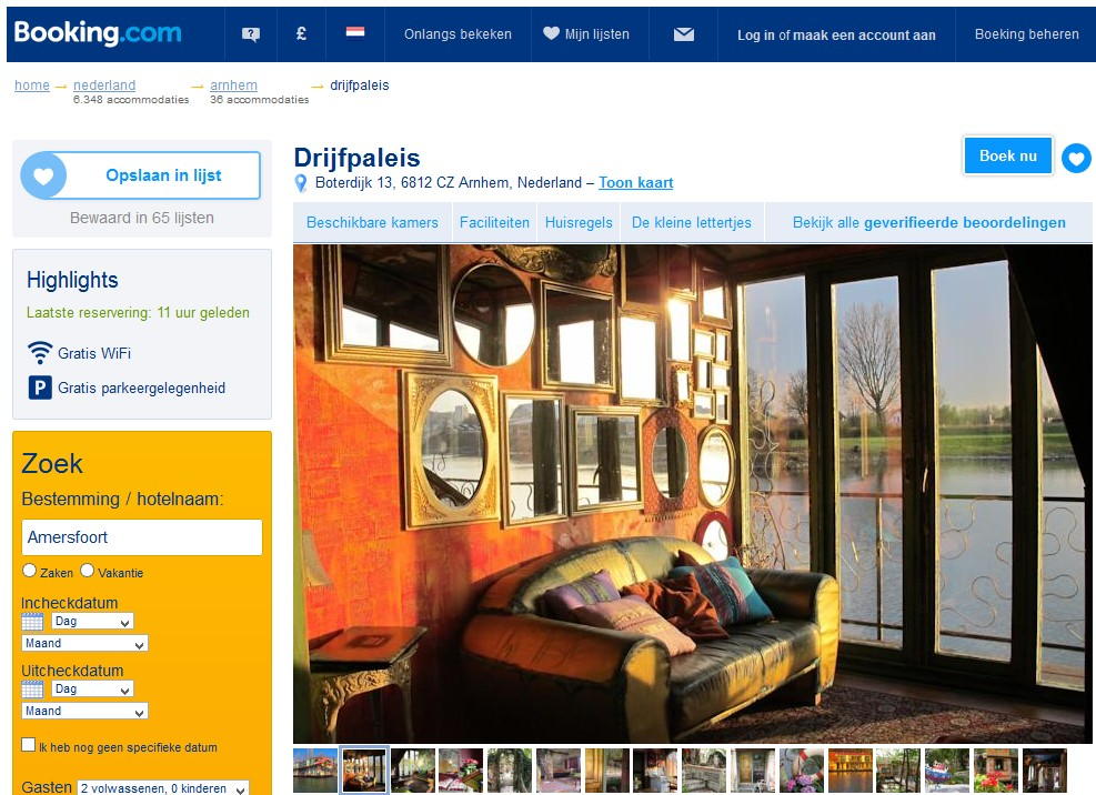 bed and breakfast drijfpaleis arnhem